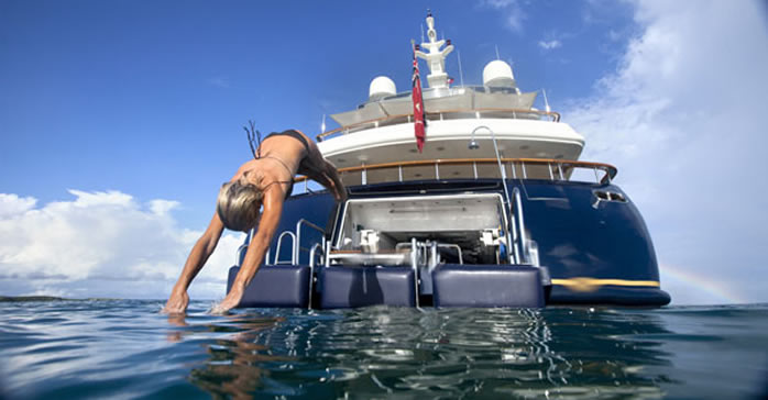 Girl Diving off  Yacht Cocktails